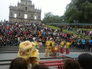 Lions dance in Saint Paul's Ruins, Macao